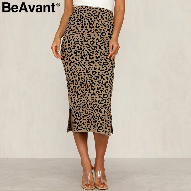 BeAvant Leopard Print Knitted Women Midi Skirt High Waist Sweater Female Skirt  Autumn Winter Party Wear Ladies Bottom Skirt