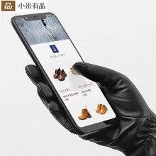 Neue Xiaomi Mijia Qimian Lammfell Touchscreen Finger Handschuhe Wasserdicht Spanisch Raw Weiche Leder Warme Winter Für Frauen Mann Stick