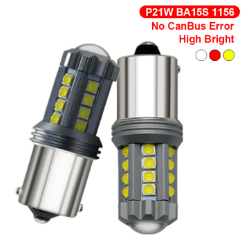 P21W LED Canbus 1156 BA15S Lamp Bulb For Alfa Romeo 159 BMW E46 E39 E36 E90 Audi A3 A6 C5 A4 B6 B8 MG Car Turn Signal Lamp Amber image