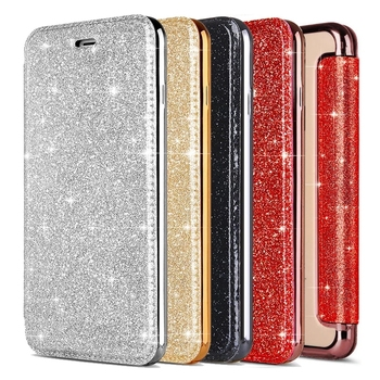 Luxury Glitter Leather Case for iPhone 6 6S 7 8 Plus X Flip Cover with Soft Silicone Back Case Funda for iPhone 8 7 Plus X XS image