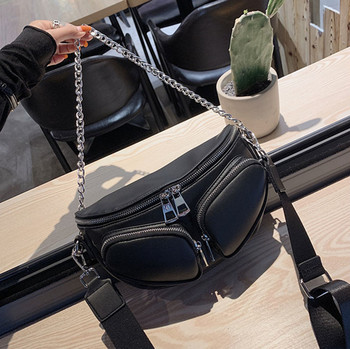 Women's Waist Bag Multi Pocket PU leather Metal Chain Saddle Bag Fanny Pack Bananka Fashion Wild Satchel Belly Band Belt Bag fashion waist bag solid color pu leather metal button chain saddle bag fanny pack bananka women wild satchel belly band belt bag
