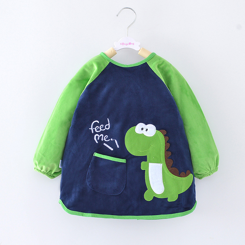 Men And Women Overclothes Kids Baby Children Eating Clothes Protective Clothing Long Sleeve Crystal Velvet Apron Waterproof Baby