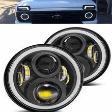 مصباح أمامي LED مقاس 7 بوصات لـ Lada ، مصباح أمامي H4 ، محرك 7 بوصات لـ UAZ Hunter ، Suzuki ، Samura ، Niva ، urban 4x4 ، urban