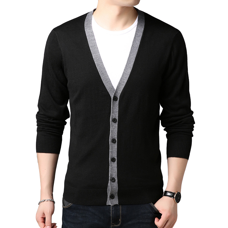 2019 Autumn Knit Jacket Stitching Sweater Slim Single-breasted Urban V-neck Long-sleeved Thin Sweater Cardigan
