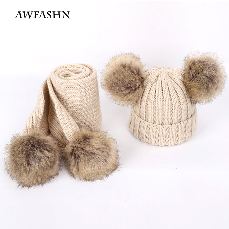 2019 New Children's Pom-pom Knit Hat Warm Soft Scarf 2 Sets Of Winter Boys And Girls Soft Hat Wool Scarf Baby Fashion Cute  Caps