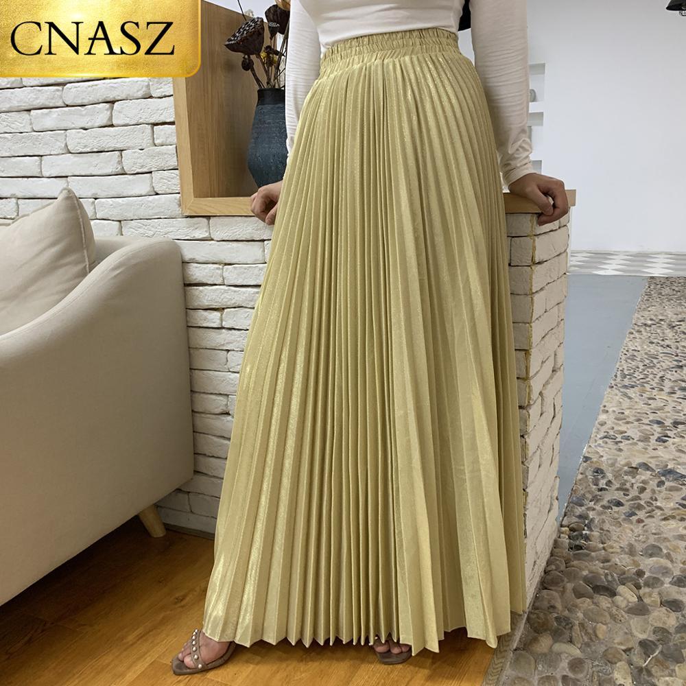 New Arrivals Metallic Pleated Maxi A Line Autumn Winter Long Skirt Solid Satin Pleated Maxi Skirt Muslim Women's Islamic Turkey