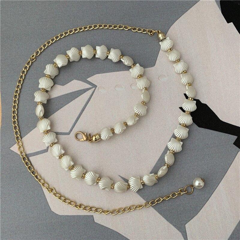 Women Corset Belt Waist Chains Fashion Luxury Waist Belts Shells Long Chain Tassel Waistbands Dress Belt Straps Accessories