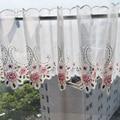 Новинка 2016  модная розовая кружевная занавеска с цветочной вышивкой  занавеска на окно для кофейни/кухни  SP2980  бесплатная доставка