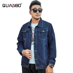 Мужская повседневная однобортная джинсовая куртка большого размера 5XL, 6XL, 7XL, 8XL, модные джинсы с отложным воротником, свободные пальто, мужс...