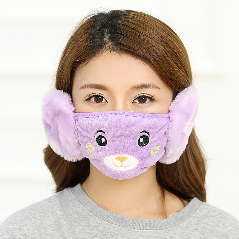 Lovely Cute Mouth Face Mask Winter Anime Mask Lady Cartoon Bear Plush Warm Earmuffs Adult Winter With Earmuffs Mask Kpop