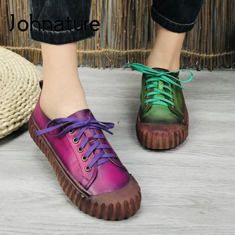 Johnature Genuine Leather Women Casual Shoes Lace-up Mixed Colors Sewing 2020 New Spring Retro Leisure Handmade Ladies Shoes