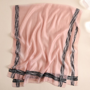 Image 5 - 2020 Solid Stripes Silk Scarf Women Soft Long Autumn Winter Scarves Fashion Shawls And Wraps High Quality Foulard Pashmina Hijab