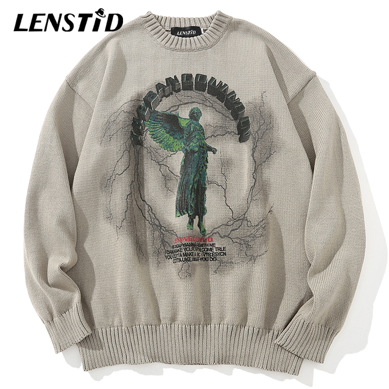 LENSTID Men Hip Hop Knitted Jumper Sweaters Angel Lightning Printed Streetwear Harajuku Autumn Oversize Hipster Casual Pullovers