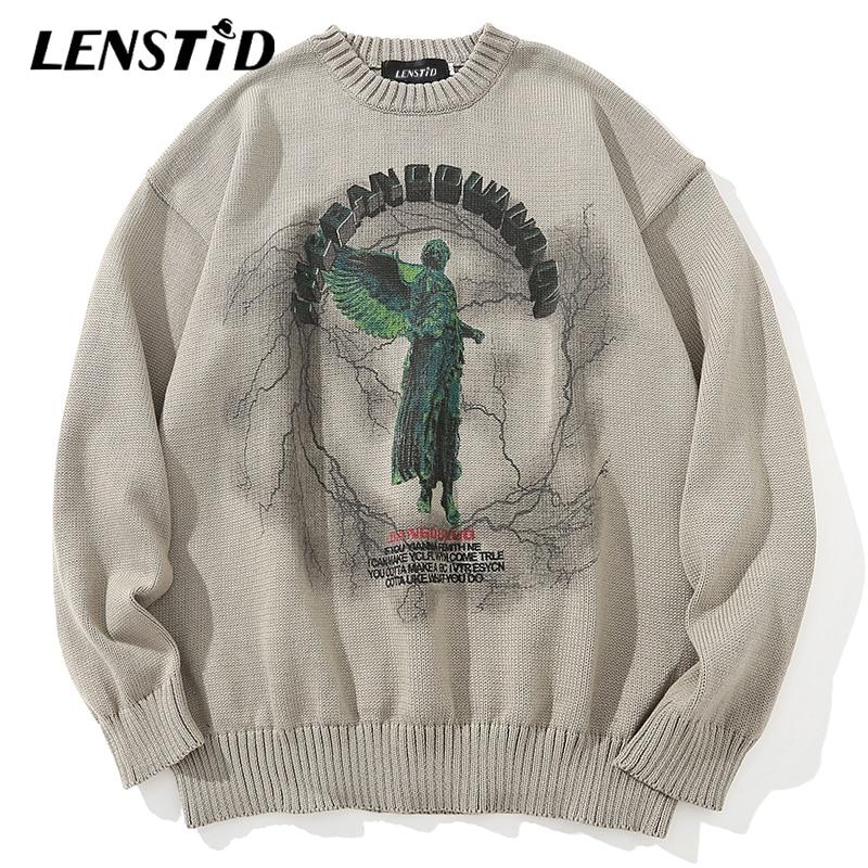 LENSTID-pull-over tricoté pour hommes, pull-over surdimensionné Hipster, Hip Hop, imprimé foudre danges, Streetwear, Harajuku, automne pulls décontractés