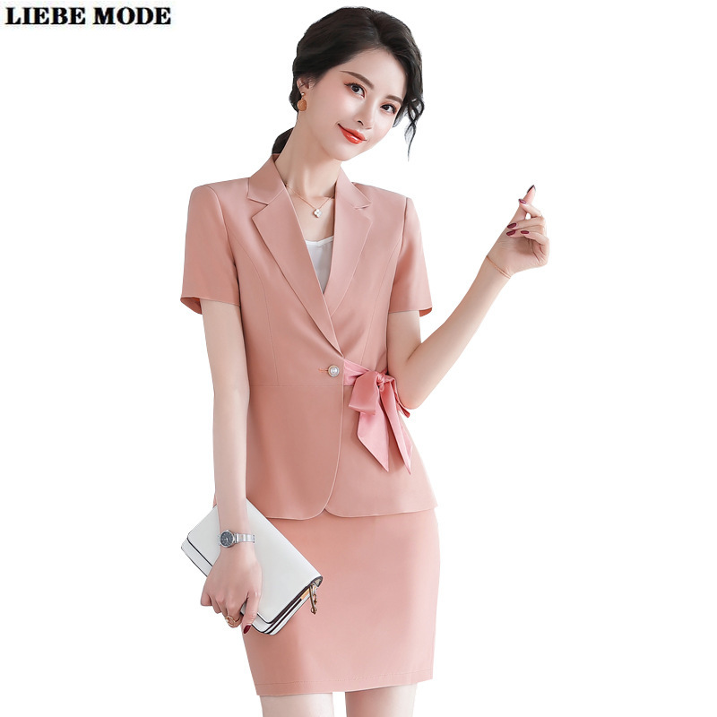 Office Uniform Design Women Black White Pink Business Skirt Suit Female Short Sleeve Blazer with Skirt Formal Work Two Piece Set