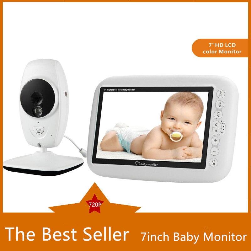 7 pouces sans fil bébé moniteur 720P HD écran caméra Vision nocturne interphone berceuse nounou vidéo bébé moniteur prend en charge le commutateur d'écran