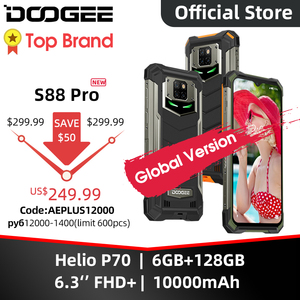 DOOGEE S88 Pro смартфон с 5,5-дюймовым дисплеем, восьмиядерным процессором Helio P70, ОЗУ 6 ГБ, ПЗУ 128 ГБ, 10000 мАч