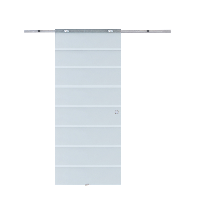 HOMCOM Sliding Door Interior With Aluminum Rail Glass 90 × 205 × 0.8 Cm