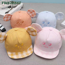New Spring Autumn Thin Style Infant baby visor cap Mouse Ear Baby Sun Hats Smile Print Girls Cap Kids Boys Sunscreen Caps