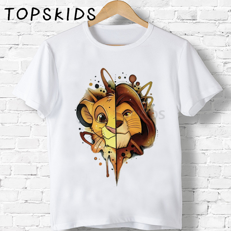 Children Cute Simba Cartoon Lion King Print T-shirt Girls/Boys Funny Animal Baby Clothes Kids Summer Tshirt,ooo5315