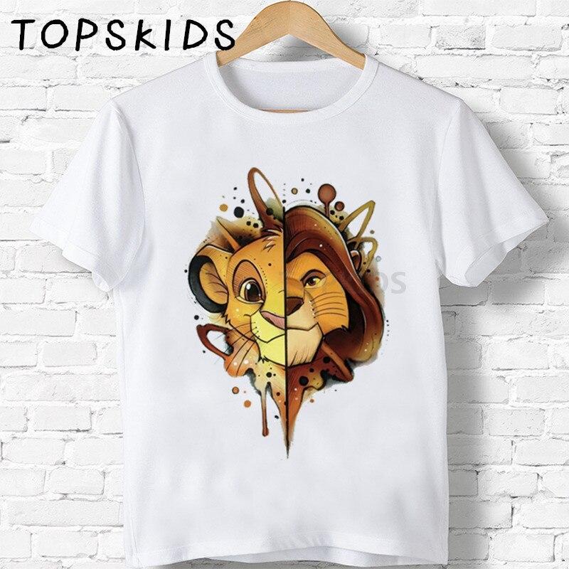 Children Cute Simba Cartoon Lion King Print T-shirt Girls/Boys Funny Animal Baby Clothes Kids Summer Tshirt,ooo5315