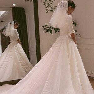Image 4 - 2020 2020 nowa panna młoda główna przędza Hepburn wiatr sukienka francuski z długim rękawem satyna zakontraktowane pokaż cienkie Trailing Qiu Dong kobiet