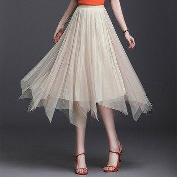 цена на 2020 Irregular Tulle Patchwork Pleated Beige WOmen Skirt Double-side Wear Mesh Pleuche High Low Long Midi Skirts