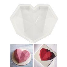3D Diamond Love Heart Shape Silicone Molds Bakeware Mousse Pastry Dessert Molds