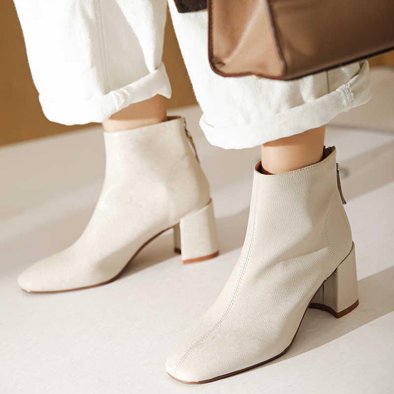 ISNOM yüksek topuklu kalın yarım çizmeler kadın Zip patik kadın parti ayakkabıları kadın kare ayak moda ayakkabılar bayanlar kış 2020 yeni