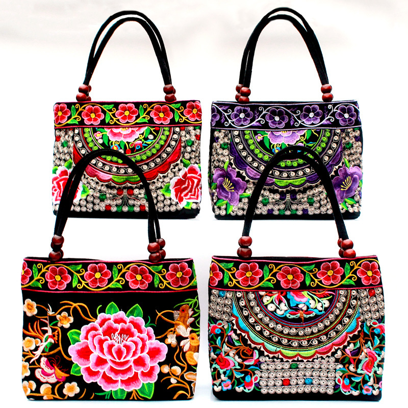 Baby Mummy Bag Organizer Nation Wind Embroidered Package Embroidery Handbag Woman  Mommy Diaper Nappy Backpack For Mom
