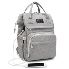 USB pieluszka torba dla mamy tata plecak podróżny pojemna torba wodoodporna pieluszka torba mumia torba na pieluchy macierzyńskie tanie tanio Nylon zipper Torby na pieluchy Stałe 18cm 27cm (30 cm Max Długość 50 cm) Diaper Bag 0 68kg 42cm Diaper Bag Backpack
