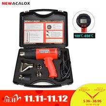 Newacalox pistola de ar quente, 2000w 220v eu, plugue industrial, pistola de ar quente, termorregulador, display lcd, pistola de calor, encolhimento, térmico aquecedor