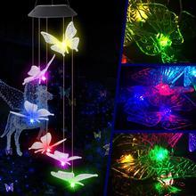 6led Solar Power zmienne światło IP65 wodoodporny kolorowy motyl dzwonek wietrzny lampa do domu ogrodowa dekoracja obejścia tanie tanio alloet CN (pochodzenie) Windbell IP55 Z tworzywa sztucznego Fluorescencyjna Nowość HOLIDAY Ni-mh NONE