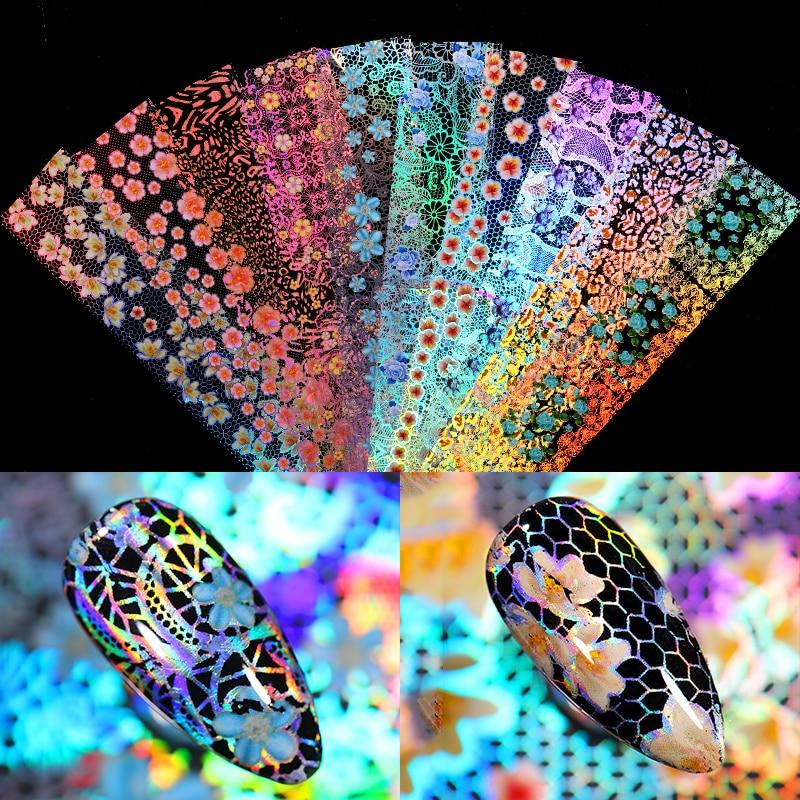 16Pcs/Set Nail Foils Holographics Flower Floral Laser Mixed Size Transfer Sticker Decals Nail Art Design Decoration Slider|Stickers & Decals| - AliExpress