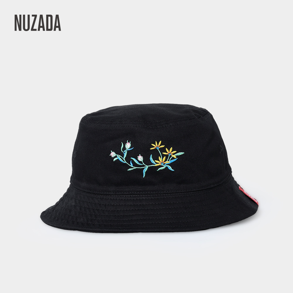 Nuzada Double-Sided Cotton Simple Bucket Hat College Style Boonie Hat Women's Outdoor Fishing Hat Folding Embroidered Bucket Hat