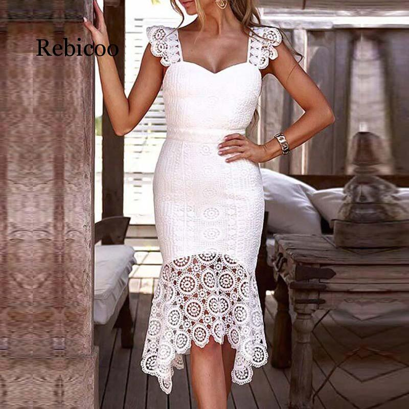 Women 39 s Openwork Crochet Skinny Lace Dress Solid Color Sleeveless Knee Long V neck Elegant Water Soluble Hook Dress in Dresses from Women 39 s Clothing