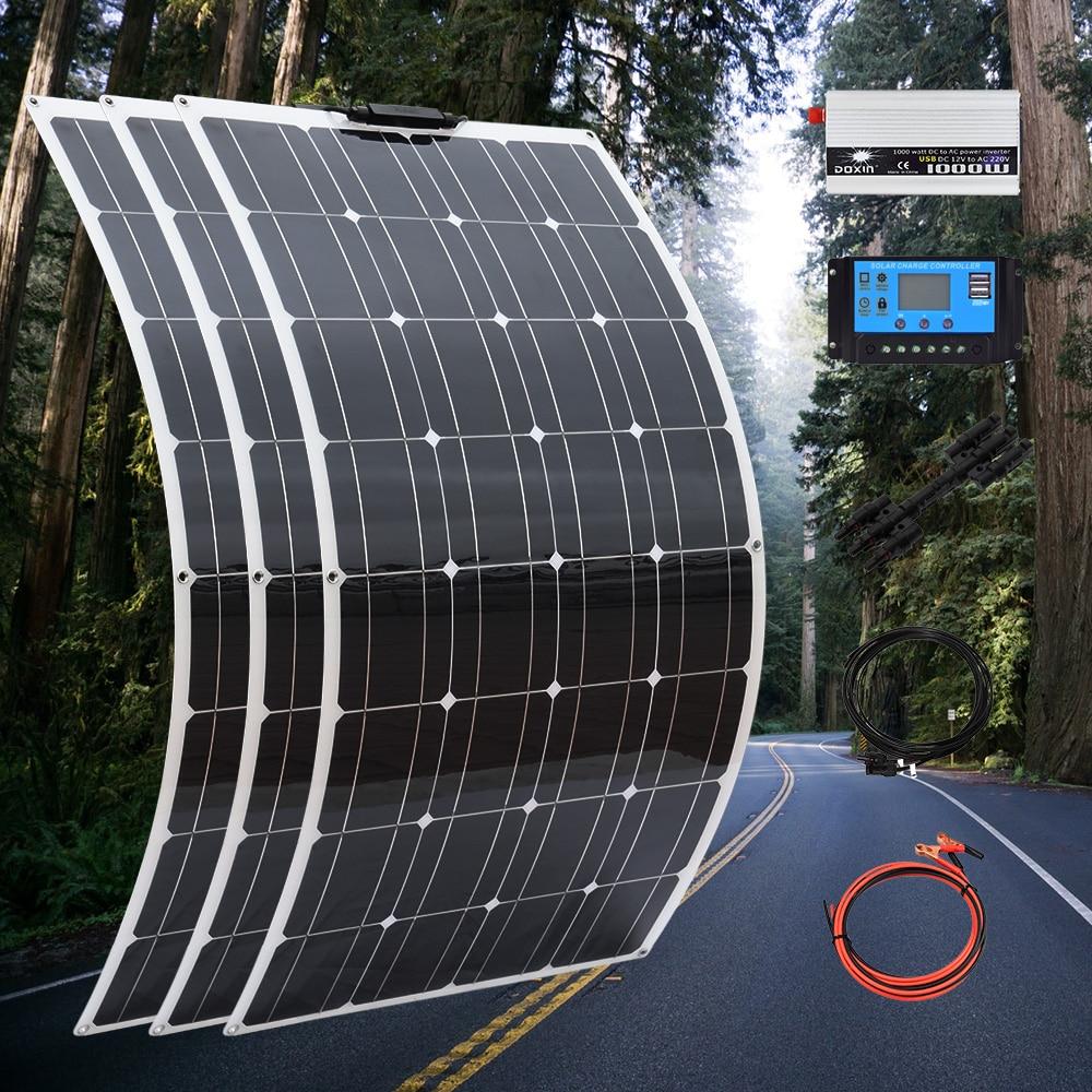 Juego de paneles solares fotovoltaicos de 300 w, 300 w, 12 voltios y 110v, 220v, 1000w, inversor para techo doméstico, kit completo de placa solar