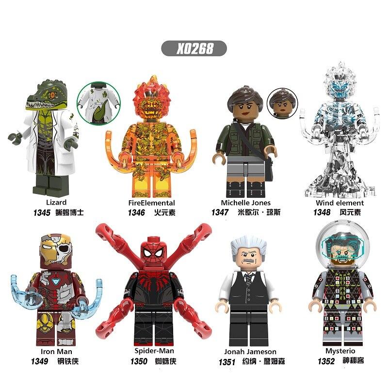 Single Sale Super Heroes Building Blocks Lizard FireElemental Michelle Jones Spirderman Figures Bricks Toys For Children X0268