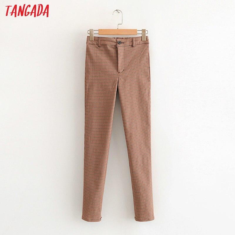 Tangada Women Plaid Skinny Slim Pants Stretch Zipper Female 2020 Fashion High Street Vintage Lady Pencil Pants Trousers HY25