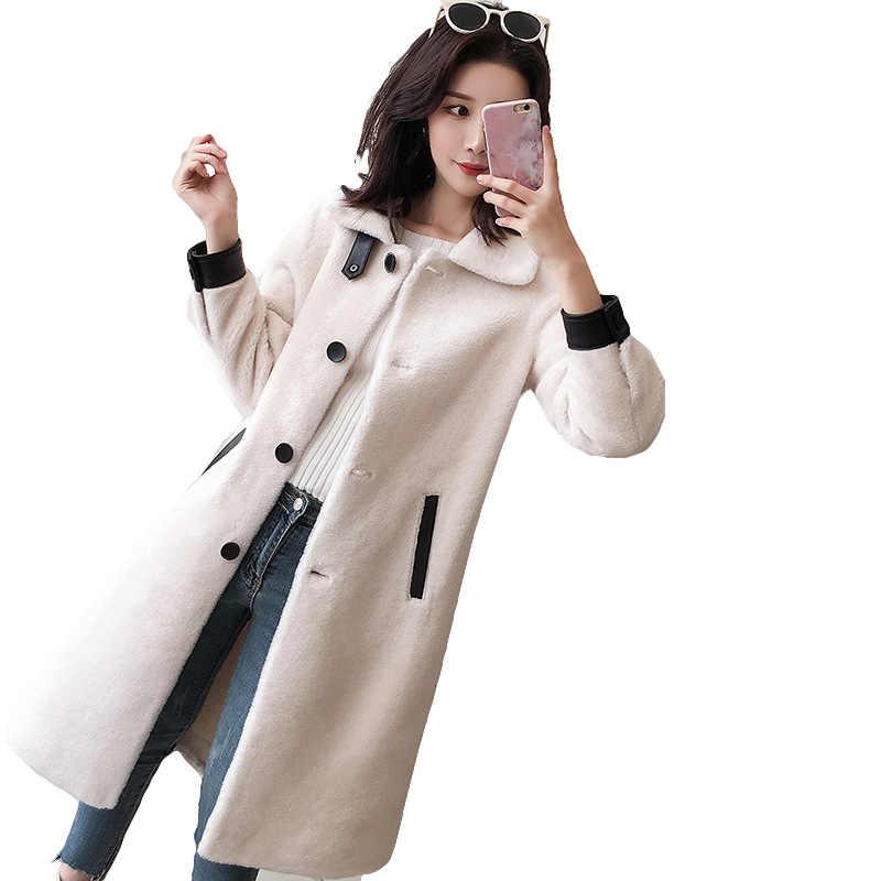 秋と冬の新リアルファー 100% ウールファッション白衣フル毛皮草コート女性ロング織羊せん断毛皮 1