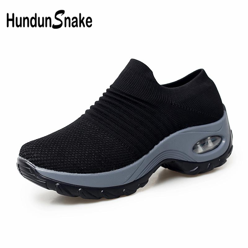 Plus Size Thick Sole Air Sock Trainers Shoes Womens Running Sneakers Woman Sports Shoes Sport Women Platform Black Tennis B-394