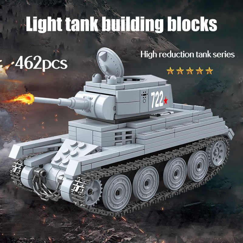 462 قطعة WW2 الحرب العسكرية اللبنات تانك الاتحاد السوفياتي BT-7L ضوء دبابات جنود الجيش أرقام كتل اللعب للبنين