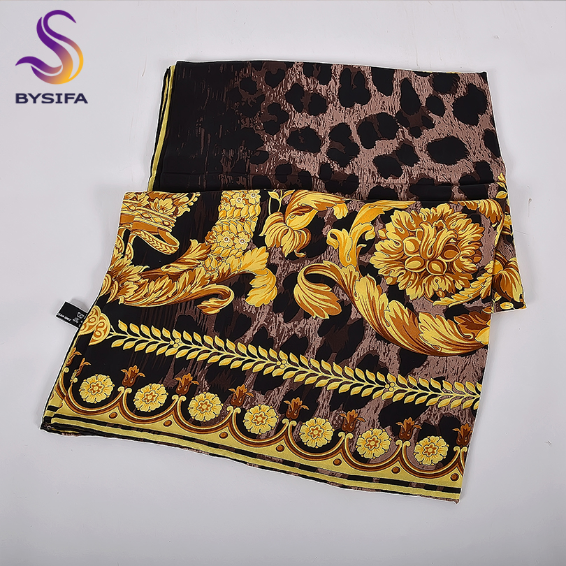 [BYSIFA] Black Gold Women 100% Silk Scarf New Elegant Twill Square Scarves Shawls Fall Winter Luxury Ladies Scarf Foulard Femme image