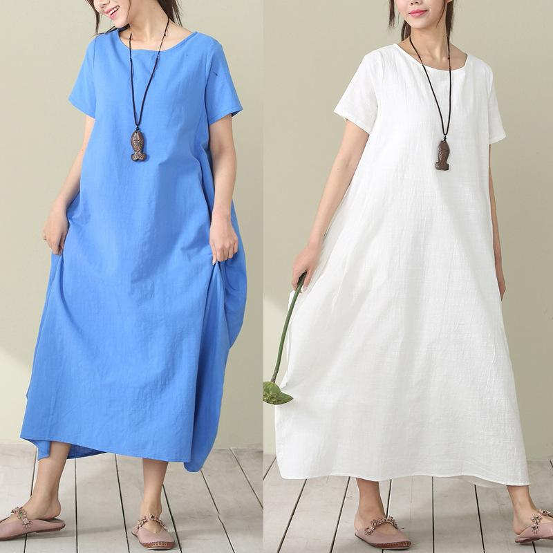 2017 Summer New Style Ethnic-Style WOMEN'S Dress Short Sleeve Cotton Linen Solid Color Loose And Plus-sized Skirt