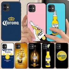 Modelo cerveja corona capa do telefone casco para o iphone 5 5S se 2 6s 7 8 11 12 mini plus x xs xr pro max escudo preto 3d volta macio
