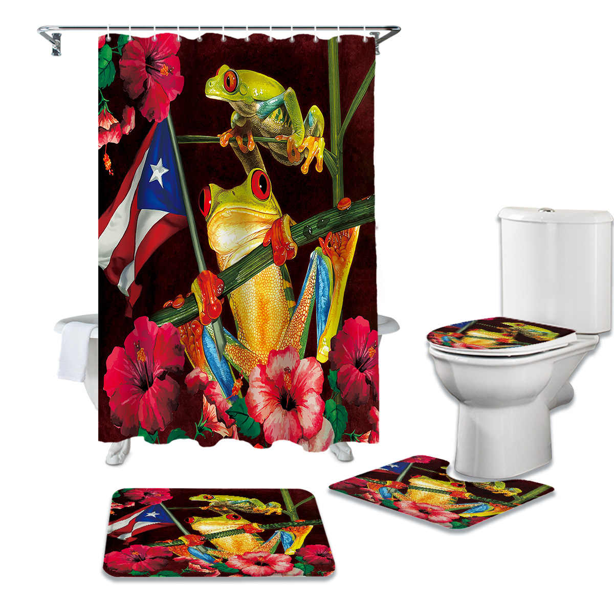 hibiscus tree trunk puerto rico flag frog shower curtain sets non slip rugs toilet lid cover and bath mat bathroom curtains set