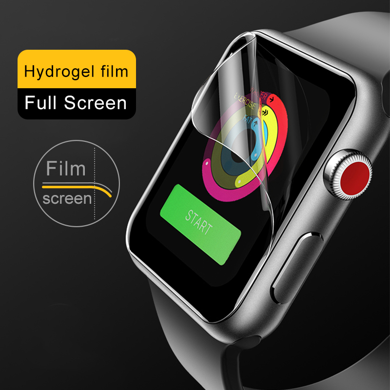 2Packs Screen Protector ClearProtective Film for i Watch 4 40MM 44MM Soft Glass Film for Apple Watch 3 2 1 38MM 42MM  Full Cover