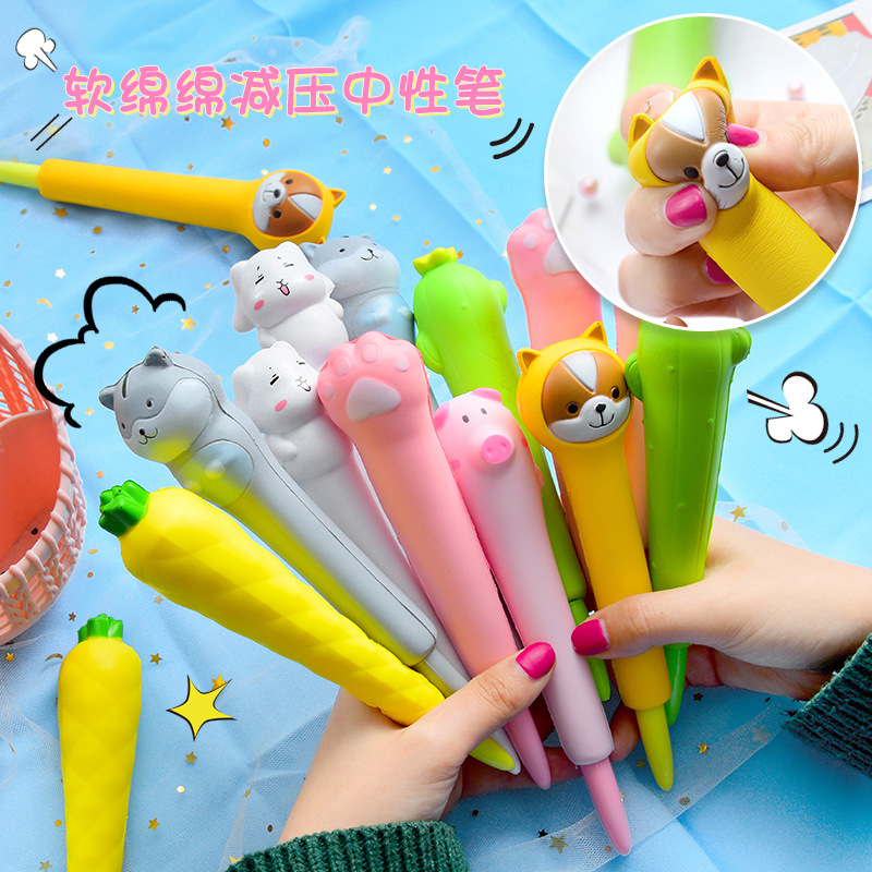 Cute Cartoon Cat Claw Dog Rabbit Squishy Slow Rising Soft Gel Pen Ink Marker Pen Squeeze Relieve Stress Funny Gift