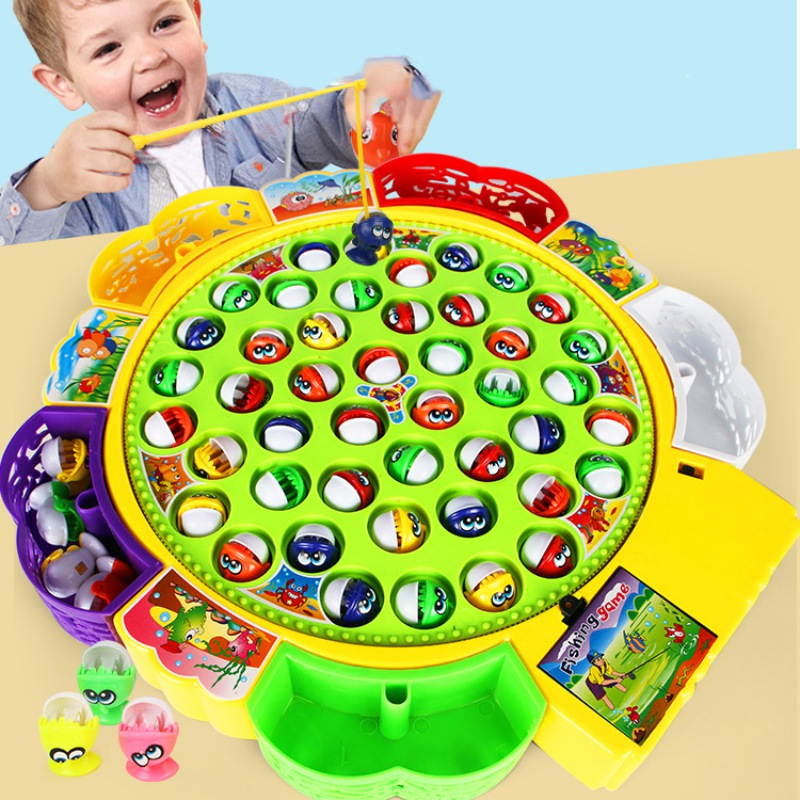 Kids Toy Electric Fishing Game Rotating Fish Board Puzzle Interactive Parent-children Toy