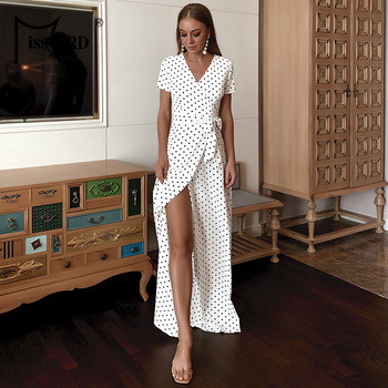 Missord 2020 Sexy Deep V Neck Short Sleeve Polka Dot Women Summer Dresses High Split Chiffon Women Holiday Dress FT20221